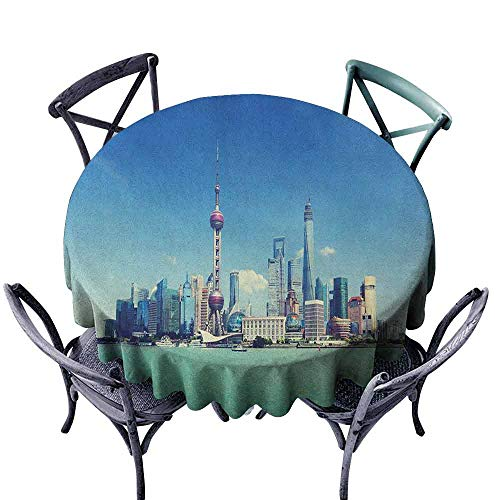 (ScottDecor Printed Round Tablecloth Table Cover China Cityscape,Shanghai Skyline Pudong River Scene Skyscrapers Modern Image, Blue Mint Green Grey Diameter 36