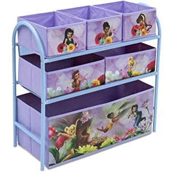Disney Fairies Metal Multi Bin Toy Organizer, Lavender By Disney Fairies  Metal Multi