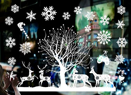 Sunm boutique Christmas Window Clings Merry Christmas Decal Wall Stickers Christmas Decorations Removable Art Decor DIY Snowflakes Decal Stickers (C, Pack of -