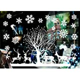 Sunm boutique Christmas Window Clings Merry Christmas Decal Wall Stickers Christmas Decorations Removable Art Decor DIY Snowflakes Decal Stickers (C, Pack of 1)