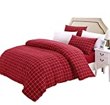 SUSYBAO Grid Bedding Set Queen Size Red Buffalo Plaid Pattern 3 Piece Washed Cotton Duvet Cover Set with Zipper Ties 1 Checkered Duvet Cover 2 Pillowcases Luxury Quality Soft Breathable Comfortable