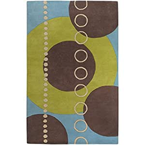 5' x 8' Eclectic Immersion Moss Green and Blue Rectangular Wool Area Throw Rug