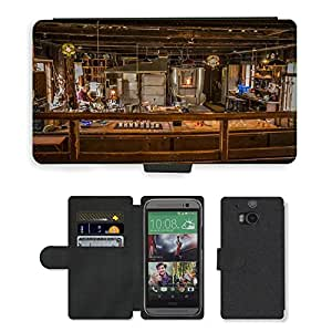 Hot Style Cell Phone Card Slot PU Leather Wallet Case // M00169425 Glass Blower Craft Craftsman Skansen // HTC One M8