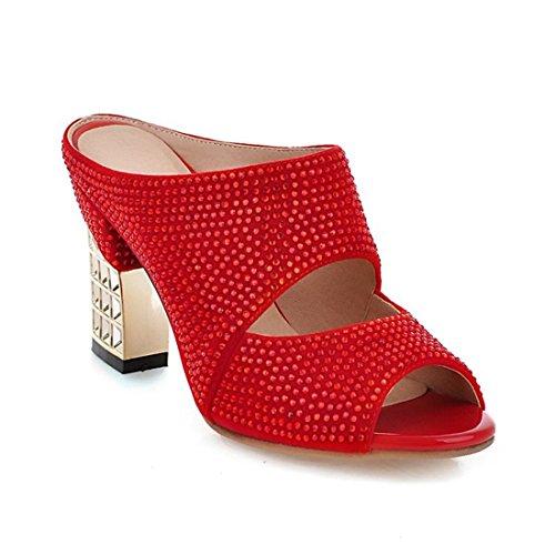 Milesline Women's Rhinestone Peep Toe Chunky Heel Sandals Slipper
