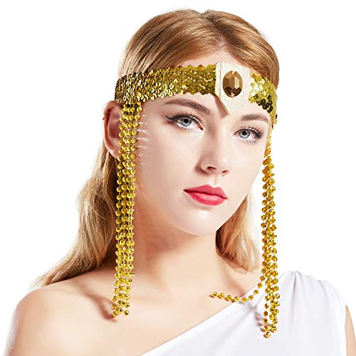 BABEYOND Egyptian Cleopatra Costume Accessories Headband Beaded Pharaoh Costume Headpiece Gold Sequined Ancient Egypt Hair Accessories]()