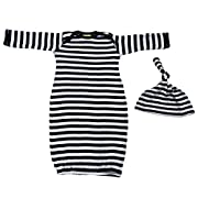 We Match! Baby Black & White Striped Layette Gown & Cap Set Super Soft Baby Outfit (Black & White)