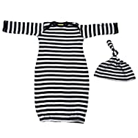 We Match! Baby Black & White Striped Layette Gown & Cap Set Super Soft Baby O...