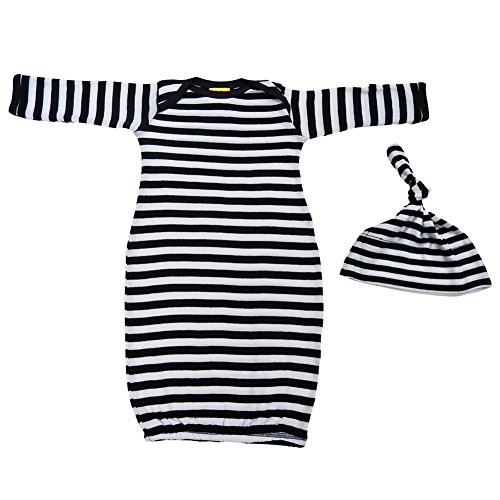 We Match! Baby Black & White Striped Layette Gown & Cap Set Super Soft Baby Outfit (Black & White)]()