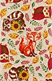 Mainstream International Woodland Animals Amid Autumn Leaves, Branches and Sunflowers Vinyl Flannel Back Tablecloth (60'' Round)