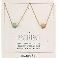 Best friend necklace, BFF Necklace, friendship necklace for 2, Gold dainty necklace, simulated gemstone necklace