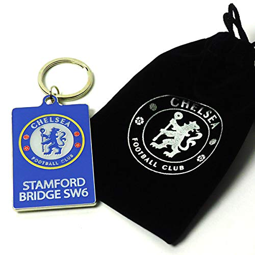 Official Chelsea fc Stamford Bridge Keyring in Velvet Gift Bag Limited Stock