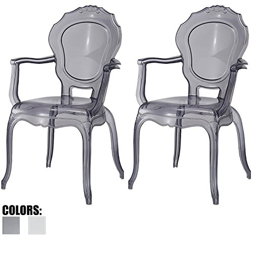 (2xhome - Set of Two (2) - Belle Style Ghost Chair Ghost Armchairs Dining Room Chairs - Smoke Armchairs Lounge Chairs Seats Higher Fine Modern Designer Artistic Classic Mold)
