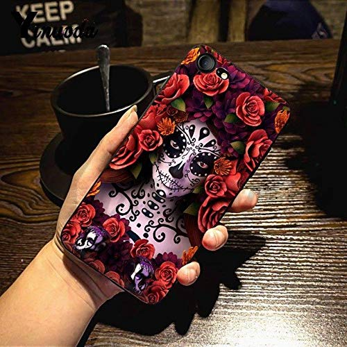 Black Red Catrina iPhone 8 Plus Sized Case, Bigger Screen Pink Purple Skeleton Pattern La Calaver 7 Plus Cover Painting Artist Spanish Day of The Dead Floral Theme Mexico Death - Skeleton Purple