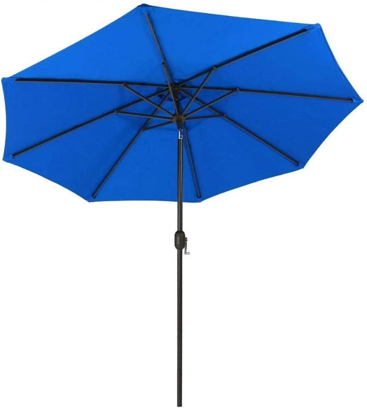 9 FT Outdoor Umbrella with Push Button Tilt and Crank for Backyard, Beach, Pool Side, Market, Garden, Deck, Patio Umbrella, Patio Furniture Royal Blue