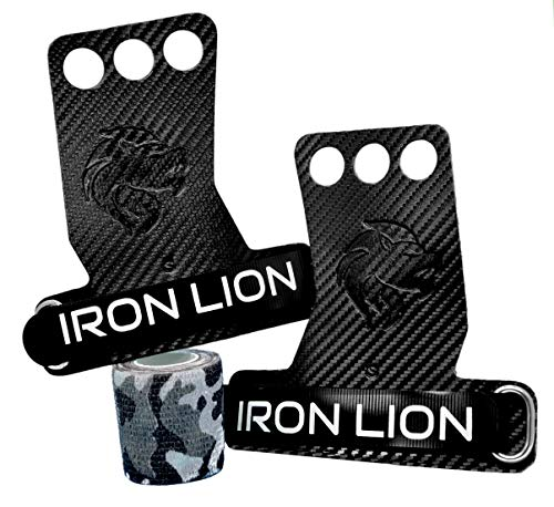 Iron Lion 3-Hole Carbon Fiber Hand Grips for Cross Training, Weight Lifting, Chin ups, Pull ups, Muscle Ups, Toes to Bar, Gymnastics, Kettlebells, Rings, and More - with Bonus Grip Tape! (Medium)