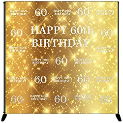 Mehofoto Happy 60th Birthday Backdrop Gold Silver Step Repeat Birthday Photography Background 8x8ft Vinyl 60th Birthday Party Banner, Party Decoration Supplies