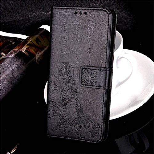 Erdong® funda Para Xiaomi Redmi 4X 5.0, Flip Book-style Superior Rose PU de la carpeta de cuero de diseño [impresión flor] Con la función del soporte y ranuras titular de la tarjeta para Xiaomi Redmi Negro