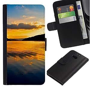 UberTech / HTC One M8 / Sunset Summer Tropical Sea Island Tropical / Cuero PU Delgado caso Billetera cubierta Shell Armor Funda Case Cover Wallet Credit Card