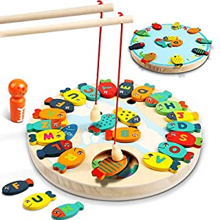 Lydaz 30 PCS Wooden Magnetic Fishing Game, Magnetic Alphabet Letters Fishing Toy, Montessori Toys Educational Games Fine Motor Skill Toys for 3 4 5 Year Old Boys Girls Kids Toddlers