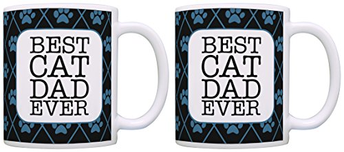 Cat Themed Gifts Best Cat Dad Ever Cat Rescue Cats Cat Mug 2 Pack Gift Coffee Mugs Tea Cups Black (Noir Teacup)