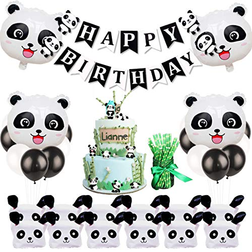 Panda Party Decorations with Panda Cake Figurine, Bamboo Straws, Party Favor Bags for Panda Birthday Party Supplies