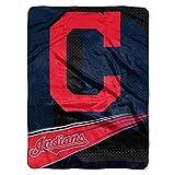 MLB Cleveland Indians Raschel Plush Throw Blanket, Speed Design