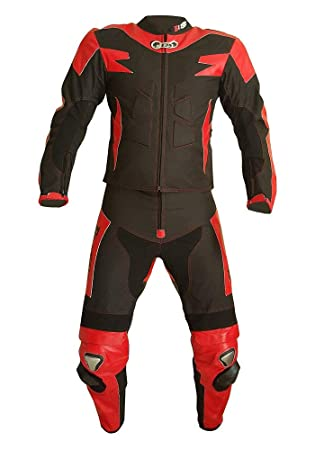 BIESSE - Traje de Moto para adulto de piel y Tejido, divisible en 2 piezas Chaqueta y pantalón, regulable, color Negro/Rojo, tallas XS - 4 XL, ...