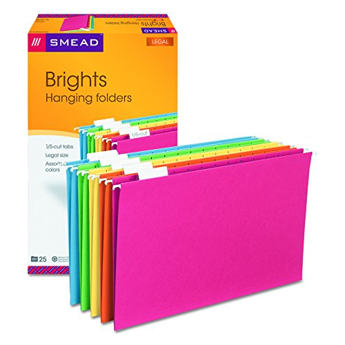 Smead Hanging File Folder with Tab, 1/5-Cut Adjustable Tab, Legal Size, Assorted Primary Colors, 25 per Box (Cut Colored Hanging File Folders)