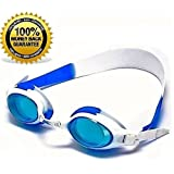 Swimming Goggles for KIDS - Wide Angle Lens - No Fog - No Tangles - UV Protected and 100% RISK FREE!