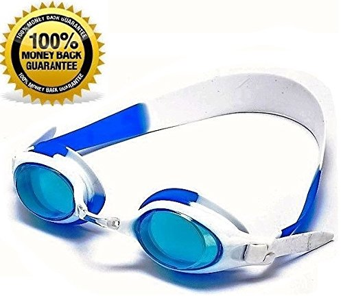 Childrens Swimming Goggles (Swimming Goggles for KIDS - Wide Angle Lens - No Fog - No Tangles - UV Protected and 100% RISK)