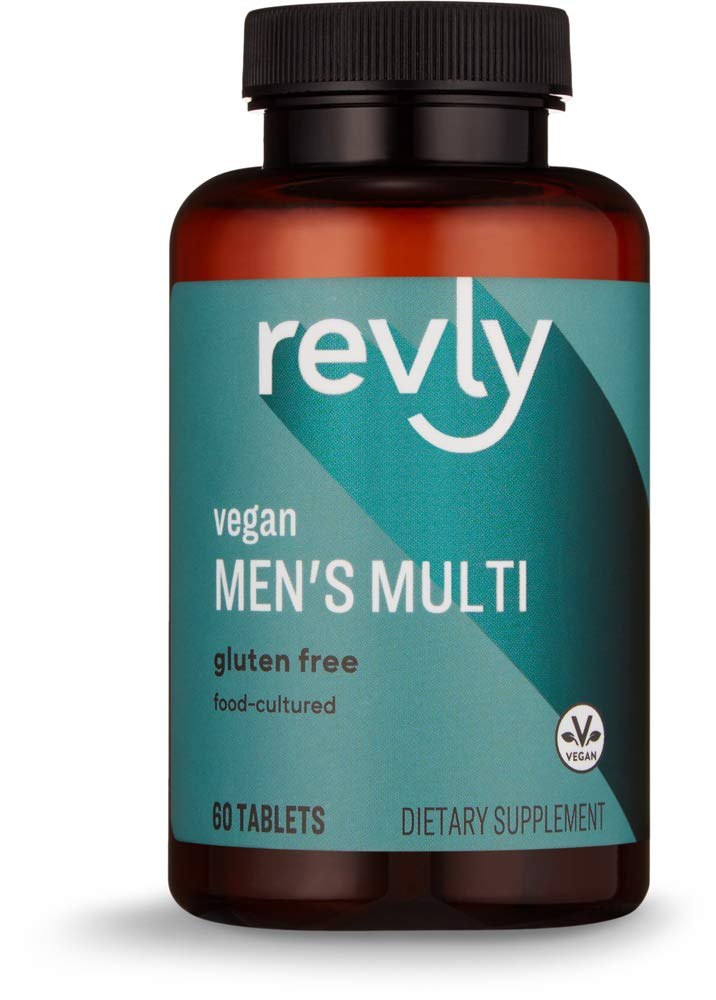 Amazon Brand - Revly Men's Multi, Vegan, 67% Food-Cultured, 60 Tablets, 2 Month Supply