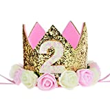 Baby Princess Tiara Crown, Kids First Birthday Hat Sparkle Gold Flower Style (1 style)