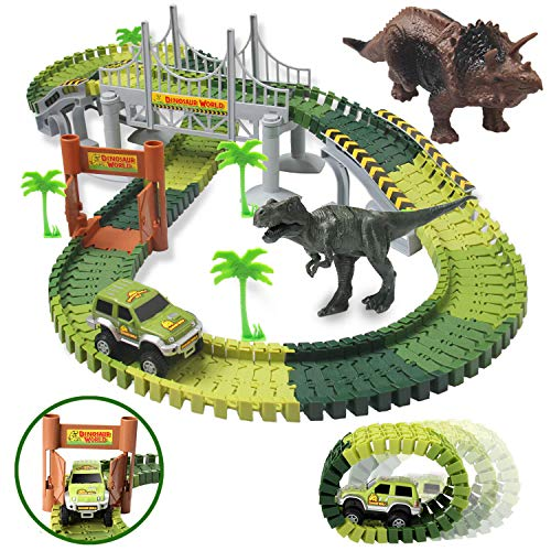 3 Year Old Boy Toys Kids Dinosaur Toys for Boys and Girls 142 Flexible Race Tracks Car Toys, 2 Dinosaurs 1 Car Extra 1 Traffic Facilities Gifts for Age 3 4 5 6 7 8