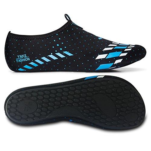 L-RUN Herren Wasser Schuhe Barfuß Haut Aqua Schuhe für Dive Surf Swim Beach Yoga Schwarz Blau