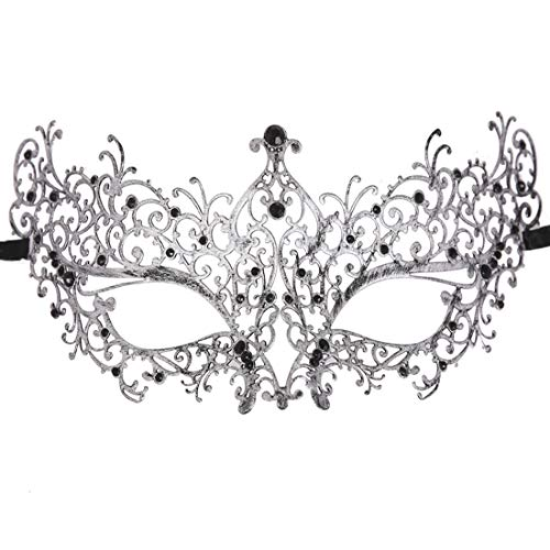 Xvevina Masquerade Mask for Women Shiny Glitter Venetian Pretty Party Evening Prom Mask (Ana Vintage Silver Black ()
