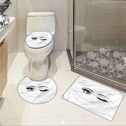 jwchijimwyc Eyelash U-shaped Toilet Floor Rug set Cartoon Style Dramatic Woman Eyes with Long Lashes Winking Flirting Gesture 3 Piece Bathroom Rug Set Lilac Grey Black free shipping