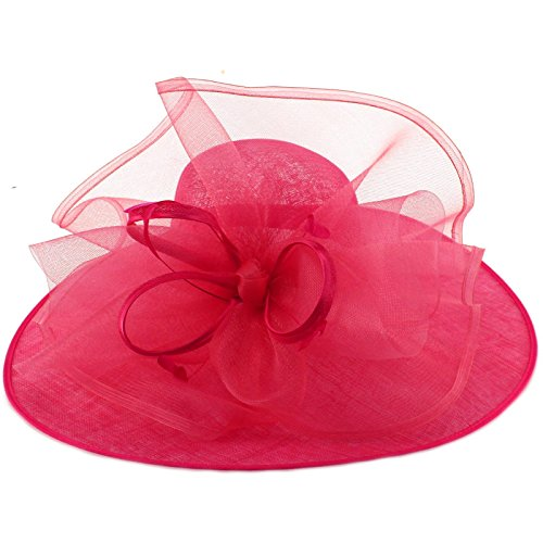 Something Special Queen Of The Ball Sinamy Floral Spray Feathers Derby Floppy Dress Wide Hat Hot Pink by Something Special