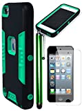 robotic armor - Bastex Heavy Duty Robotic Design Hybrid Black Rubberized Case with Mint Hard Insert for Apple iPod Touch 5 & 6INCLUDES SCREEN PROTECTOR AND STYLUS [Compatible with iPod Touch 6]