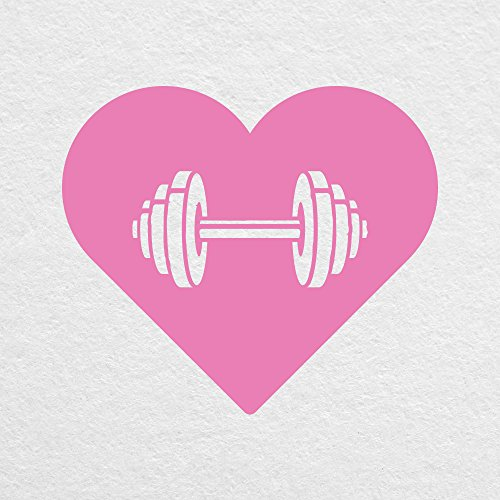 """Price comparison product image Dumbbell Heart - 4"""" Wide PINK Decal - For MacBook, Car, Laptop, or Anything!"""