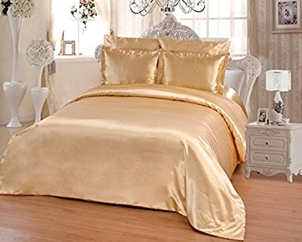 OctoRose 6 PCS Duvet Sheet Set, Supreme Quality Sexy Silky Satin,1 Large Size Double heads Zipper Duvet Cover,1 Fitted Sheet, 2 Pillow case,2 Pillow Shams (Gold, Twin)