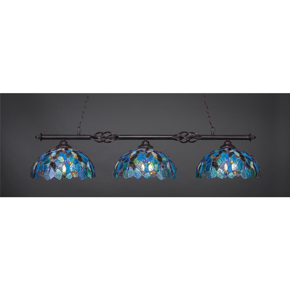 Toltec照明863-dg-995 Elegante – 3つライトビリヤード、ダークGranite Finish withブルーモザイクティファニーガラス B00DYA37ZI