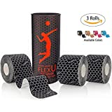 FlexU – Kinesiology Tape; Super Saver 3 Roll Pack Pre-Cut; Advanced Strength and Flexibility Properties; Longer Lasting, Pro Grade Therapeutic Recovery Sports Tape