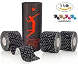 FlexU Black Kinesiology Tape; Super Saver 3 Roll Pack; 60 Pre-Cut 10 Inch Strips; Hypoallergenic Longer Lasting Pro Grade; Therapeutic Recovery Synthetic Athletic Wrap Tape