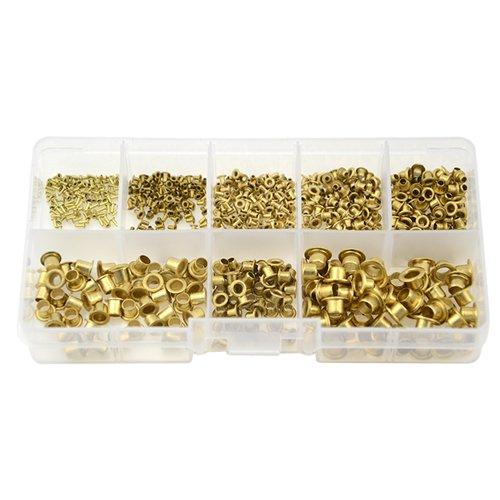 XLX 650PCS 8 Values M0.9(d)-M5(L) Mixed Zinc Plated Through Hole Copper Rivets assortment kit(Whole Hollow Grommets Rivets Set with A Plastic Storage Kit) by XLX