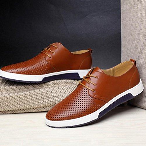 zycShang-Chaussure Chaussures en Cuir Hommes Hommes d'été Respirant Affaires Loisirs Creuse Chaussures en Cuir Solide-Sneakers Basses-Chaussures de Voyage EU:36-EU:47 Marron 1v0jxNklz