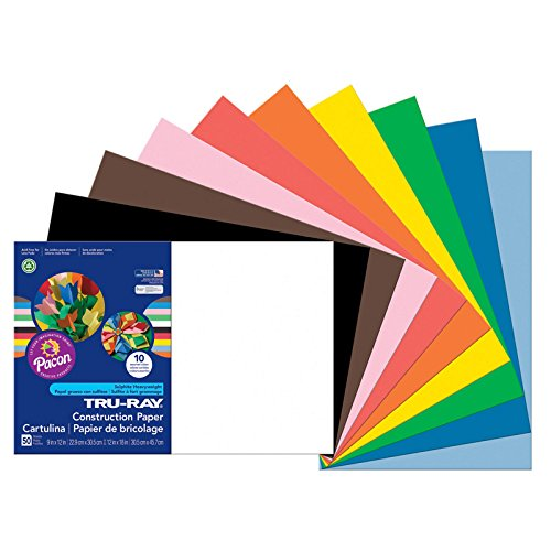 Recyclable Materials (Pacon Tru-Ray Construction Paper, 12-Inches by 18-Inches, 50-Count, Assorted (103063))
