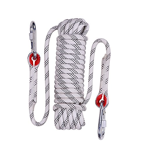 Rock Climbing Rope, 12mm Diameter Outdoor Hiking Accessories High Strength Cord Safety Rope(10m,32ft)(20m,64ft) (30m,94ft) (White, 32ft)