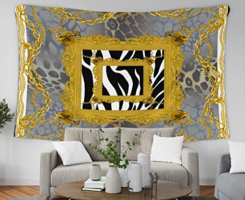 Asdecmoly Easter Printing Psychedelic Tapestry Wall Hanging Tapestries for Living Room and Bedroom 60 Lx50 W Inches Leopard Pattern Golden Chain Scarf Art Printing Inhouse - Chain Golden 50 Baroque