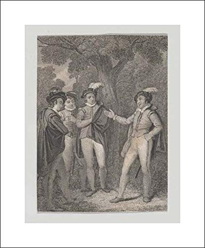 John Massey Wright - 16x20 Art Print by Museum Prints - Dumain, Biron, The King, and Longaville (Shakespeare, Love's Labour's Lost, Act 4, Scene 3)