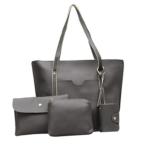 Sale Clearance Sunday77 4Pcs Women Pattern Leather Handbag+Crossbody Bag+Messenger Bag+Card Package Dark Graya